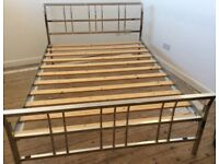 DOUBLE BED - Chrome Frame With Slatted Base & Free Mattress
