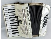 Galotta 48 Bass Accordion - Made in Germany - White Pearl - 2 Voice