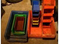 storage bins/ small toolbox and rip saw