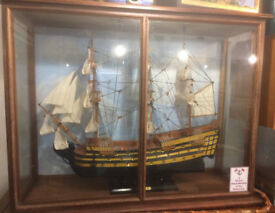Large HMS Victory Wooden Model Ship in glazed case, Display 97cm x 75cm x 38cm