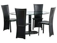 Black and clear glass dining table 4 seater