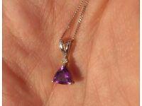 Amethyst Necklace - Trillion Cut Amethyst on Super Fine Chain (Birth Stone: February)