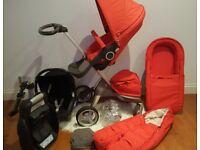 Stokke Xplory pram pushchair inc footmuff, carrycot, maxi cosi car seat and isofix base