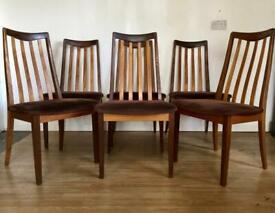 RETRO MID CENTURY VINTAGE TEAK G PLAN SET of 6 DINING CHAIRS 1970's - DANISH STYLE