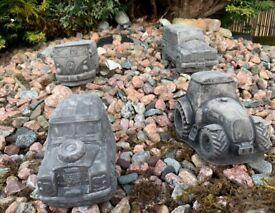 Set of Four Concrete Garden Ornaments, Land Rover Series 3, 110 Defender, VW Camper Van & Tractor