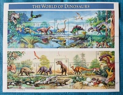 THE WORLD OF DINOSAURS Sheet of Fifteen 32 Cent Postage Stamps MINT NEVER HINGED