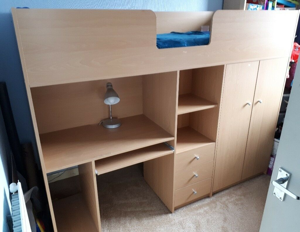 High Sleeper Kids Bed With Desk 3 Drawers And Wardrobe Underneath