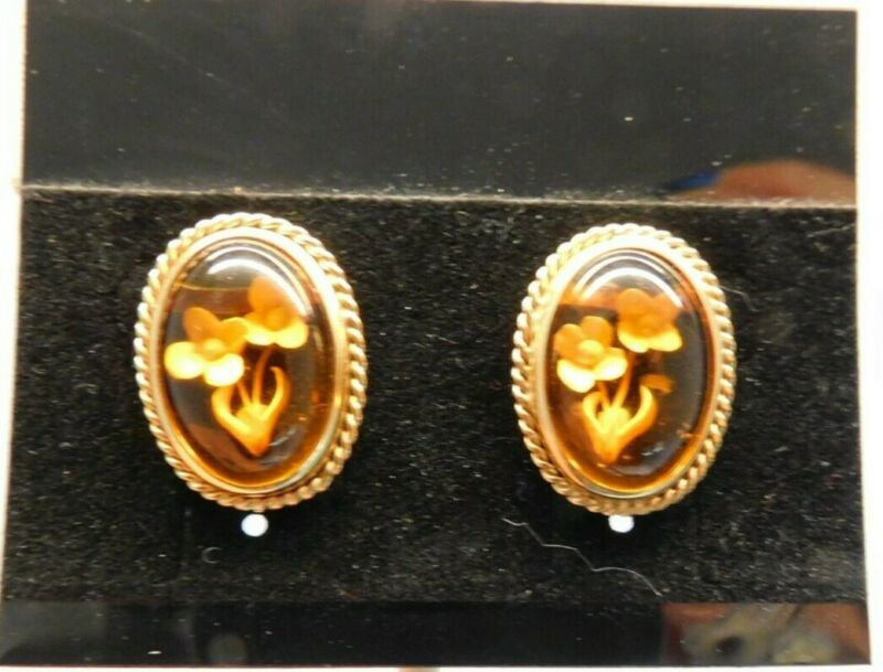 Carved 14KT Yellow Gold Rossana Italy Carved Flowers Amber Pierced Earrings