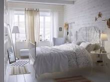 LEIRVIK WHITE IKEA BED FRAME - QUEEN, USED + PERFECT CONDITION. Northbridge Willoughby Area Preview