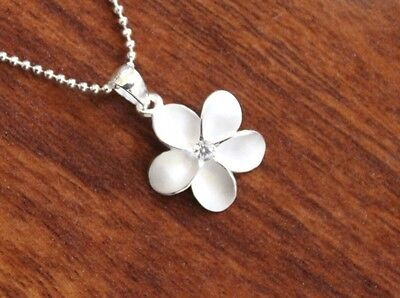 (Hawaiian 925 Sterling Silver 15MM PLUMERIA CLEAR CZ Pendant Necklace #SP43701)