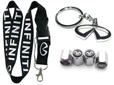 Infiniti Lanyard + Metal Keychain + Stem Valve Caps - G35 G37 Q50 Q60 M35 M45