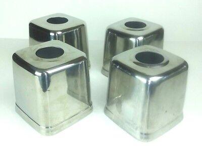 Chrom Tissue Box Cover (Tissue Box Cover Holder Polished Chrome Finish Metal Square Lot of 4 Bathroom )