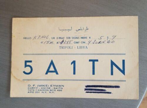 Vintage Qsl Radio Card amateur station Ham Tripoli Libya APO New York 5A1TN rare