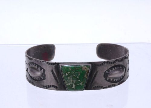 Fred Harvey Era  Navajo Bracelet - Early Stamping - Fine Turquoise c. 1920