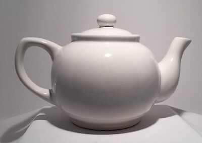 """Vintage Teapot  7"""" Tall 7"""" Wide Nice White Crown Stoneware with locking top"""