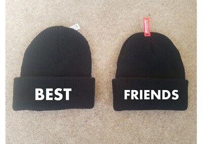 Printed Beanies BESTIES Best Friend Valentines Love Couple Pair Fashion (Best Friend Beanie Hats)