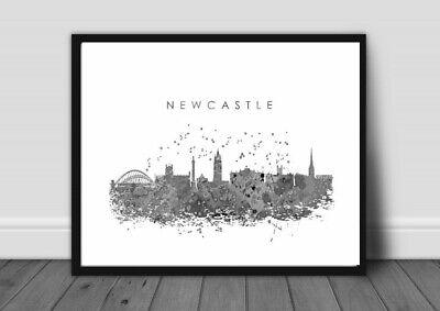 NEWCASTLE CITY LANDSCAPE PRINT PICTURE WALL ART A4 MONOCHROME unframed 22
