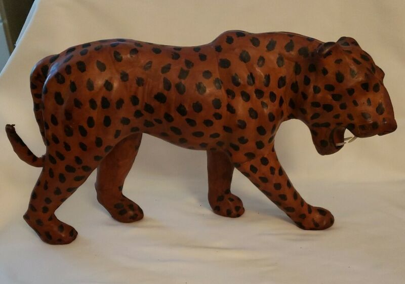 """Vtg 13""""x7""""x3"""" Leather Wrapped Leopard/ Cheetah Animal Wild Cat Figure Sculpture"""