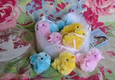 Bethany Lowe Pastel Peeps in a Box Fuzzy Chicks Easter