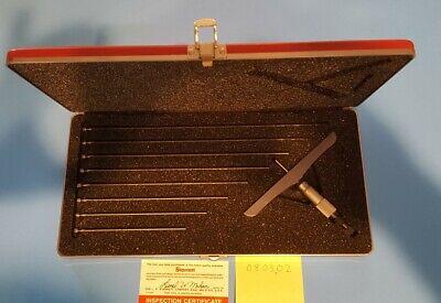 Nice Starrett Depth Micrometer 445 0-9 In. 6 In Base Red Padded Case Usa Mic