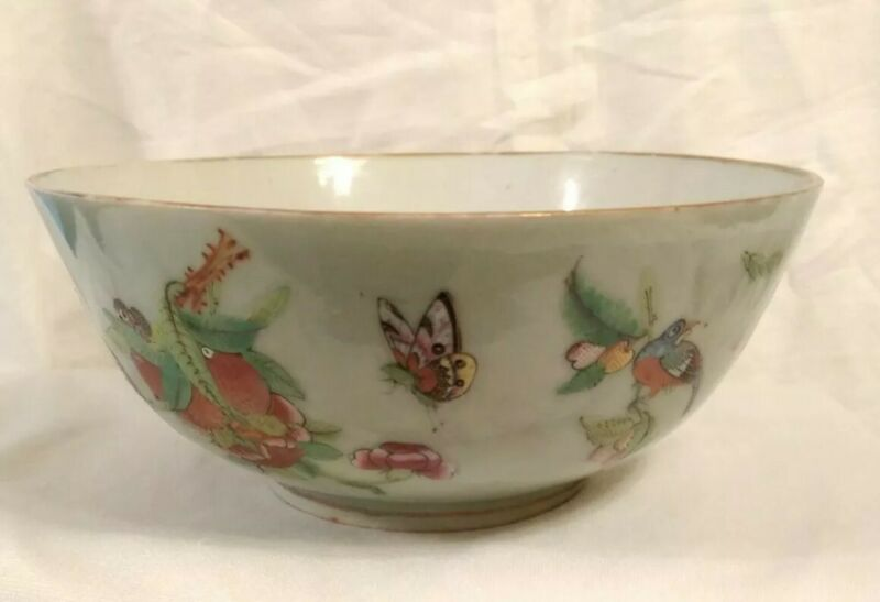 "Antique Chinese Famille Rose Celadon Glaze Bowl 8""  Butterfly Bird Bugs Fruit"