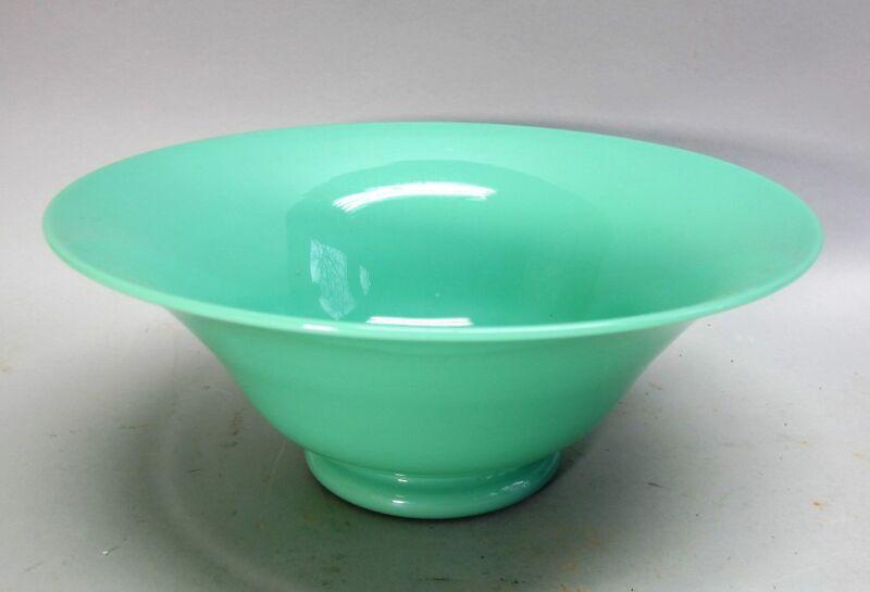 "Fine & Rare STEUBEN GREEN JADE 10.5"" Art Glass Bowl  c. 1930   antique American"