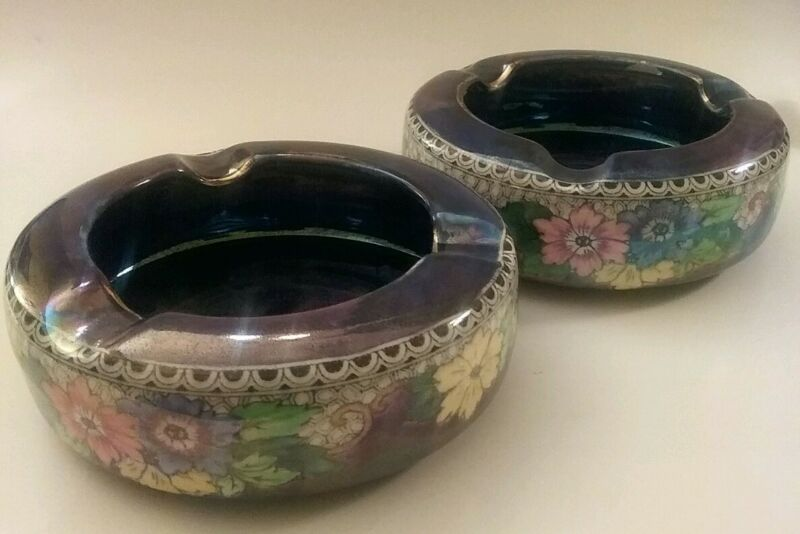 Pair Of Pretty Antique Maling Cobalt Blue Lustre Floral Deco Ashtrays, England