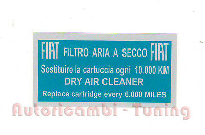 Sticker Blue Fiat F 500 LR Quality Asi for Air Filter