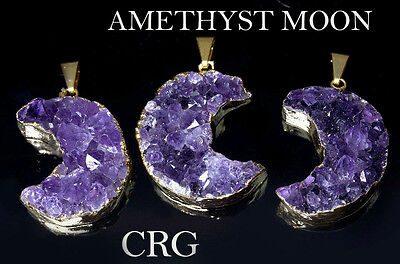 """Gold Plated AMETHYST Half-Moon Pendant 30mm FREE 18"""" CHAIN (DR40CN)"""