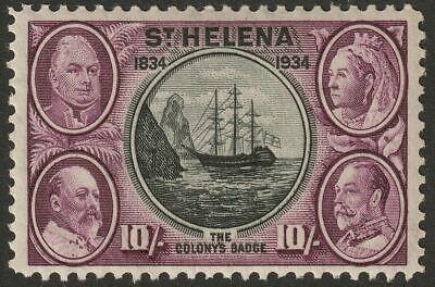 St Helena 1934 KGV 10sh Black and Purple Mint SG123 cat £300