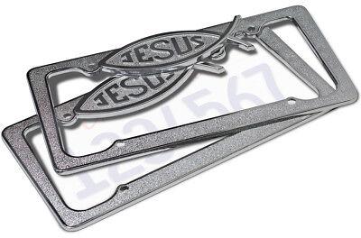 OxGord Metal License Plate Frame Jesus Christ Religious Fish Car SUV Van Truck-C comprar usado  Enviando para Brazil