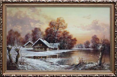 Winterlandschaft  Öldruck  dekorativer Rahmen  59 X 85,5 cm