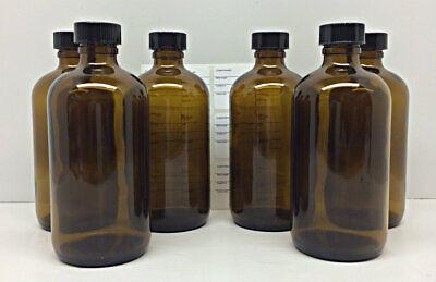 6 Amber Glass Boston Round Bottles Black Cap 8 Oz