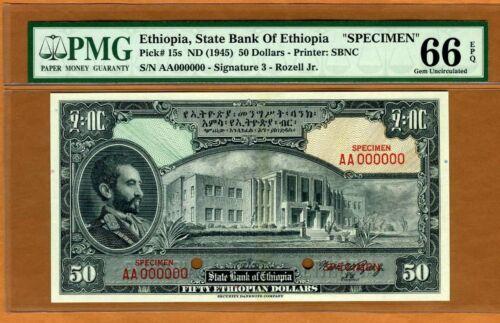 SPECIMEN Ethiopia, 50 Dollars ND (1945), P-15s, PMG-66 Gem UNC