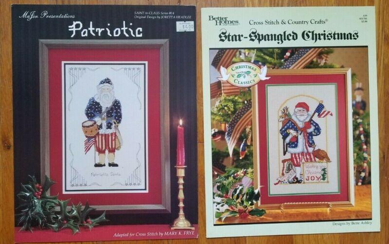 LOT 2 Cross Stitch Patriotic Santa and Star Spangled Christmas Santa Leaflets