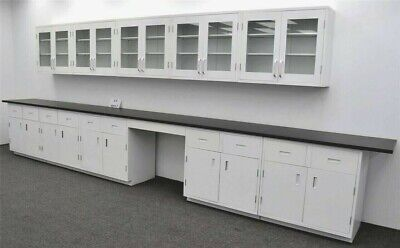 17 Laboratory Base 15 Glass Door Wall Cabinets W Benches  Used E1-037