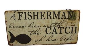 A Fisherman Lives Here With The Catch Of His Life Plaque Fathers Day Gift Idea