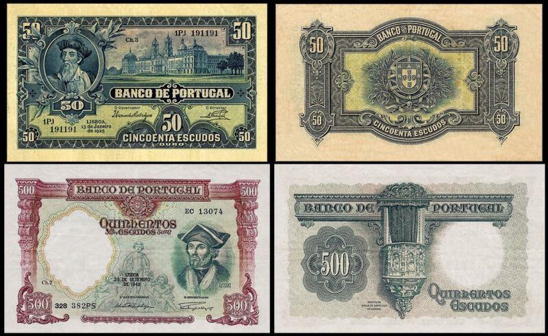!COPY! PORTUGAL 50 ESCUDOS 1925 + 500 ESCUDOS 1942 BANKNOTES !NOT REAL!