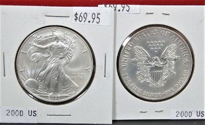 2000 American Silver Eagle BU 1 oz Coin $1 Dollar U.S. Mint Uncirculated Toning