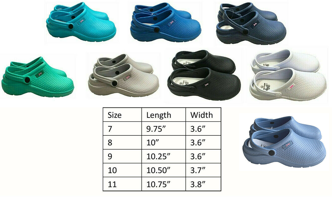 Medical Nursing Womens Ultralite Clogs With Heel Strap Non-S