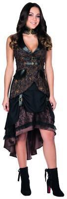 Steampunk Rock braun Damen Ziffernblatt Aufdruckt Karneval Kostüm Kleid