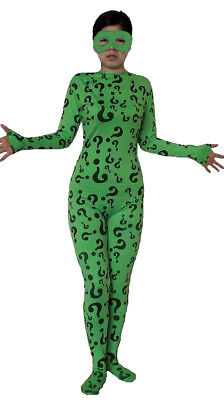 The Riddler Adult Costume Body Suit Spandex Batman Forever Villain Jim - Riddler Suit Costume