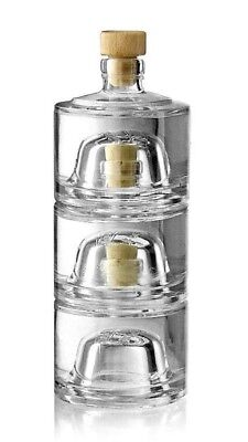 3x Luxury Stacked Glass Bottle Stacking Jar Storage 600ml Brandy Decanter