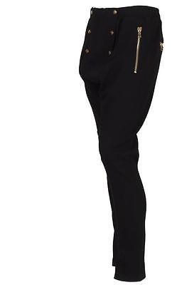NEW BALMAIN MEN'S CURRENT BLACK ZIPPER DETAILS COTTON SWEATPANTS PANTS L/LARGE