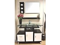 Modern Vanity Unit with Glass Sink, Mirror & Matching Shelves - Great Condition