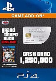 GTA V 1.25 million Shark Card code, BRAND NEW Unused