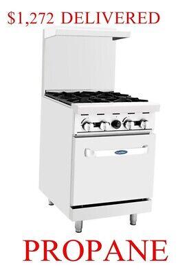 Lp Range Oven 24 Inch 2 Foot Wide Commercial Restaurant 4 Burners Propane Gas