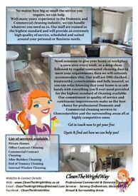 Professional Domestic Cleaning Services Gloucestershire by CleanTheWrightWay