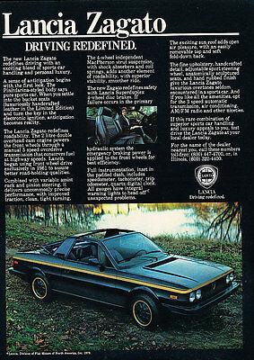 1979 Lancia Zagato black 1980 - Classic Vintage Advertisement Ad D19