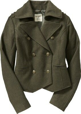 Double Breasted Crop (Old Navy cropped military double breasted peacoat Olive Green)